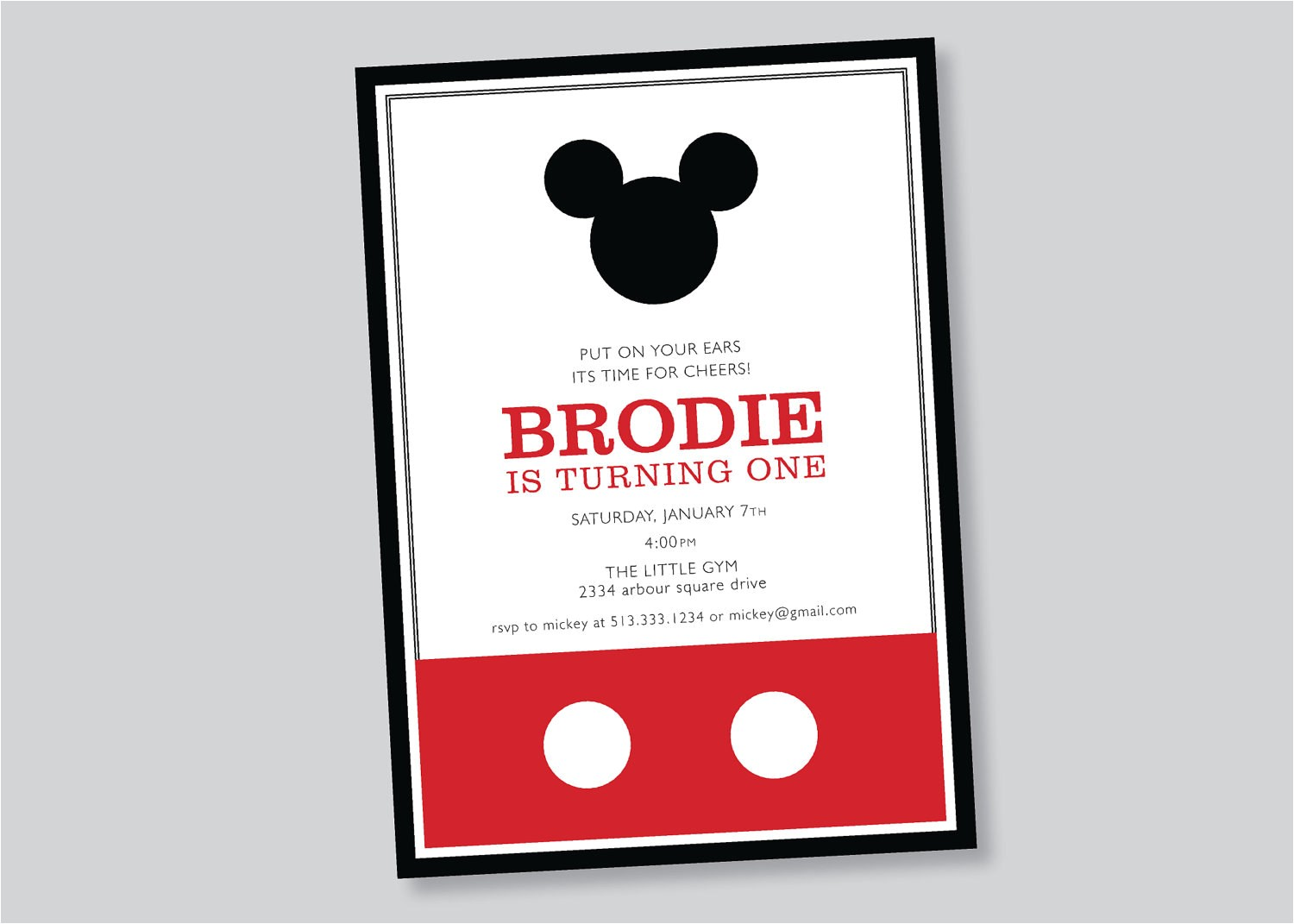 mickey mouse birthday invitation custom