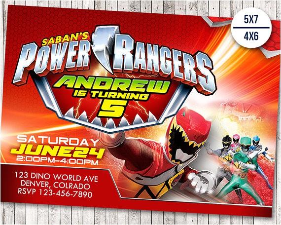 power rangers invitation power ranger