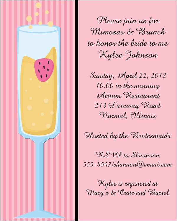 Mimosa Bridal Shower Invitations