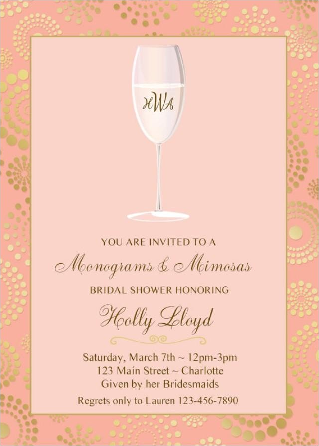 monogram and mimosas bridal shower invitation pink gold bridal shower invitation