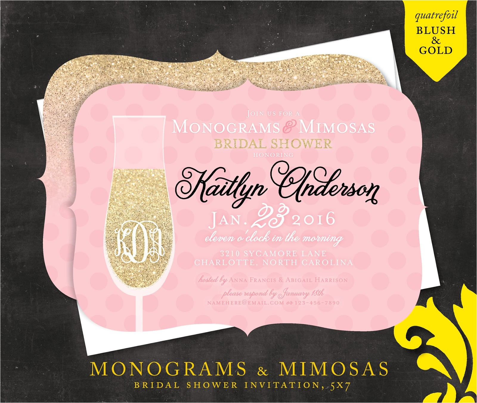 mimosas monograms bridal shower