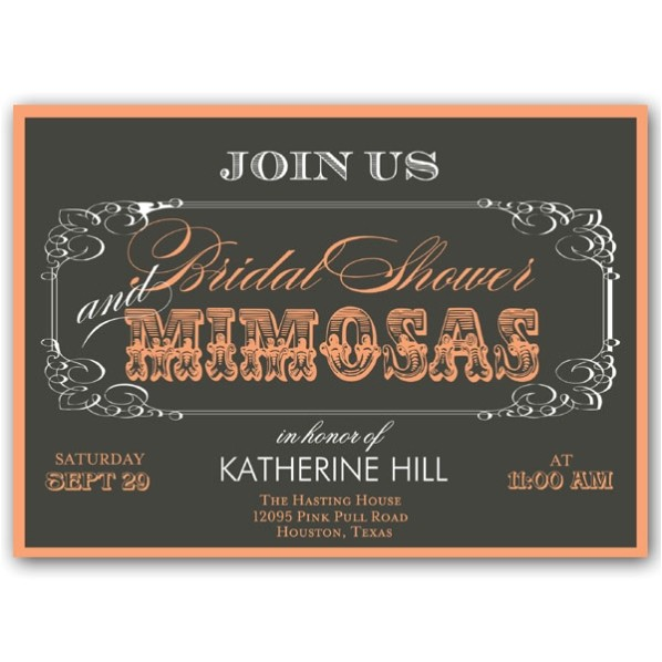 Mimosas Script Bridal Shower Invitations p 603 75