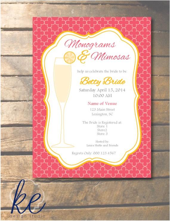 monograms and mimosas wedding shower