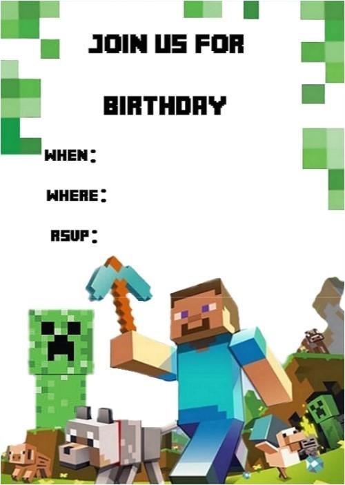 minecraft birthday invitation template 2