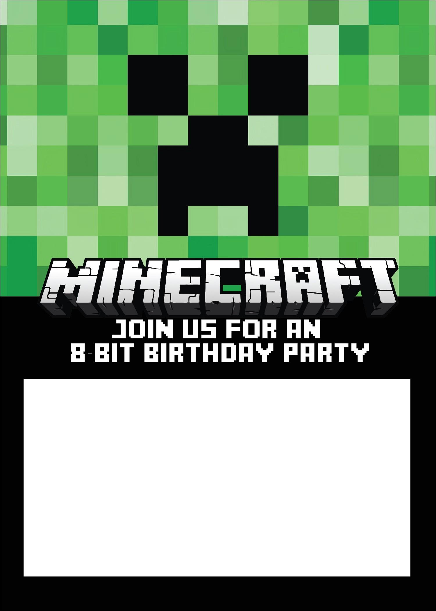 free minecraft birthday invitation