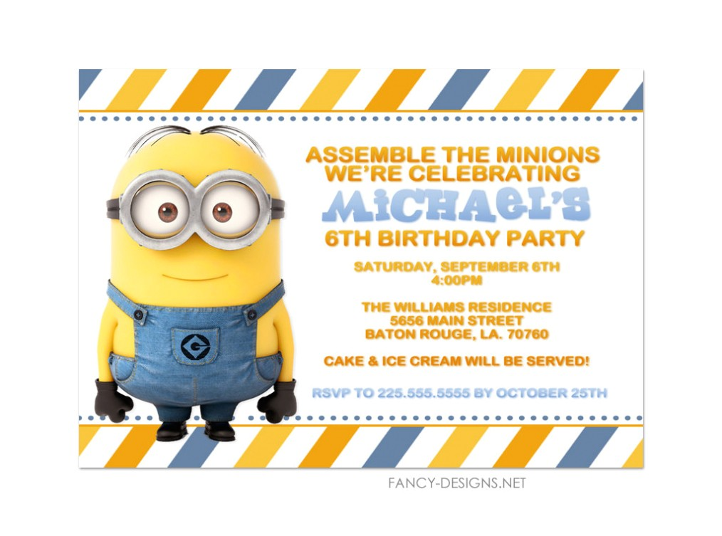 free printable minion birthday party invitations ideas template minions birthday party invitations