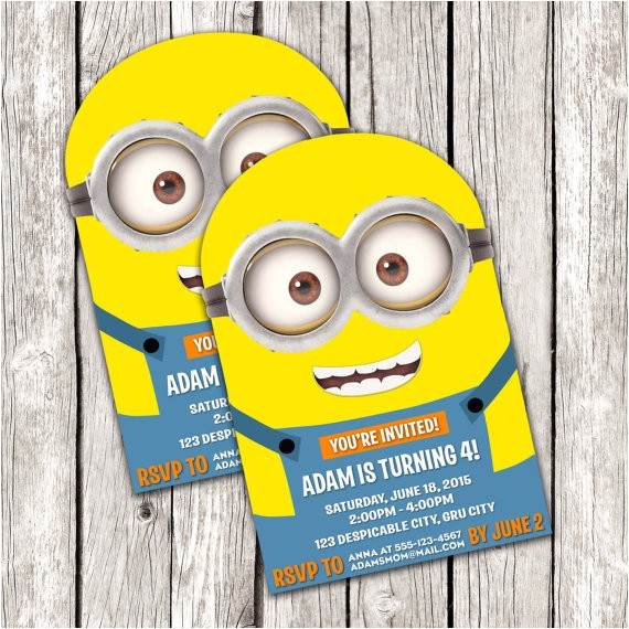 minion invitation despicable me birthday ref unav listing other