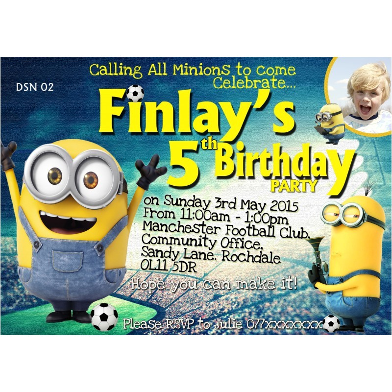 196 personalized football minion invitations thank you cards