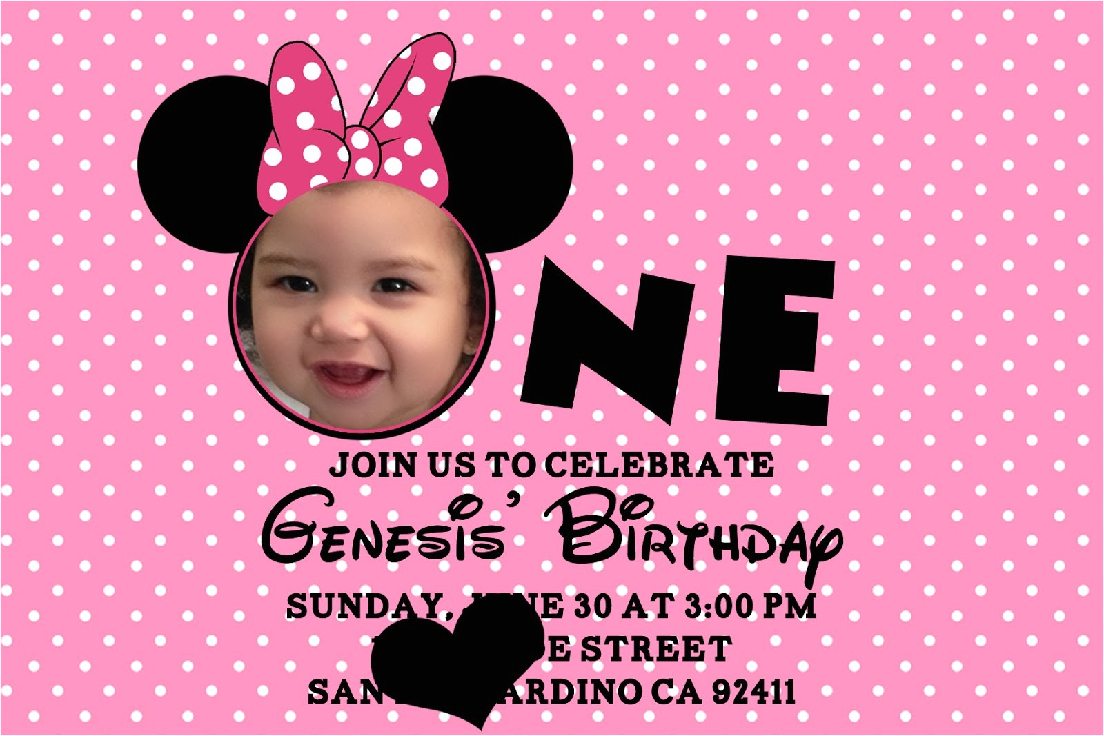 Minnie Mouse 1st Birthday Invitations Templates Minnie Mouse Birthday Invitations Personalized – Bagvania