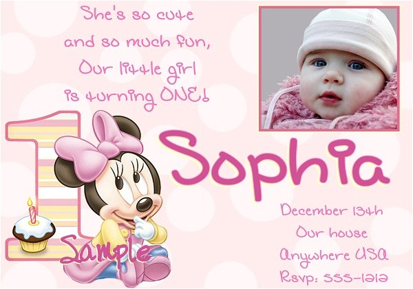 1st birthday invitation minnie mouse