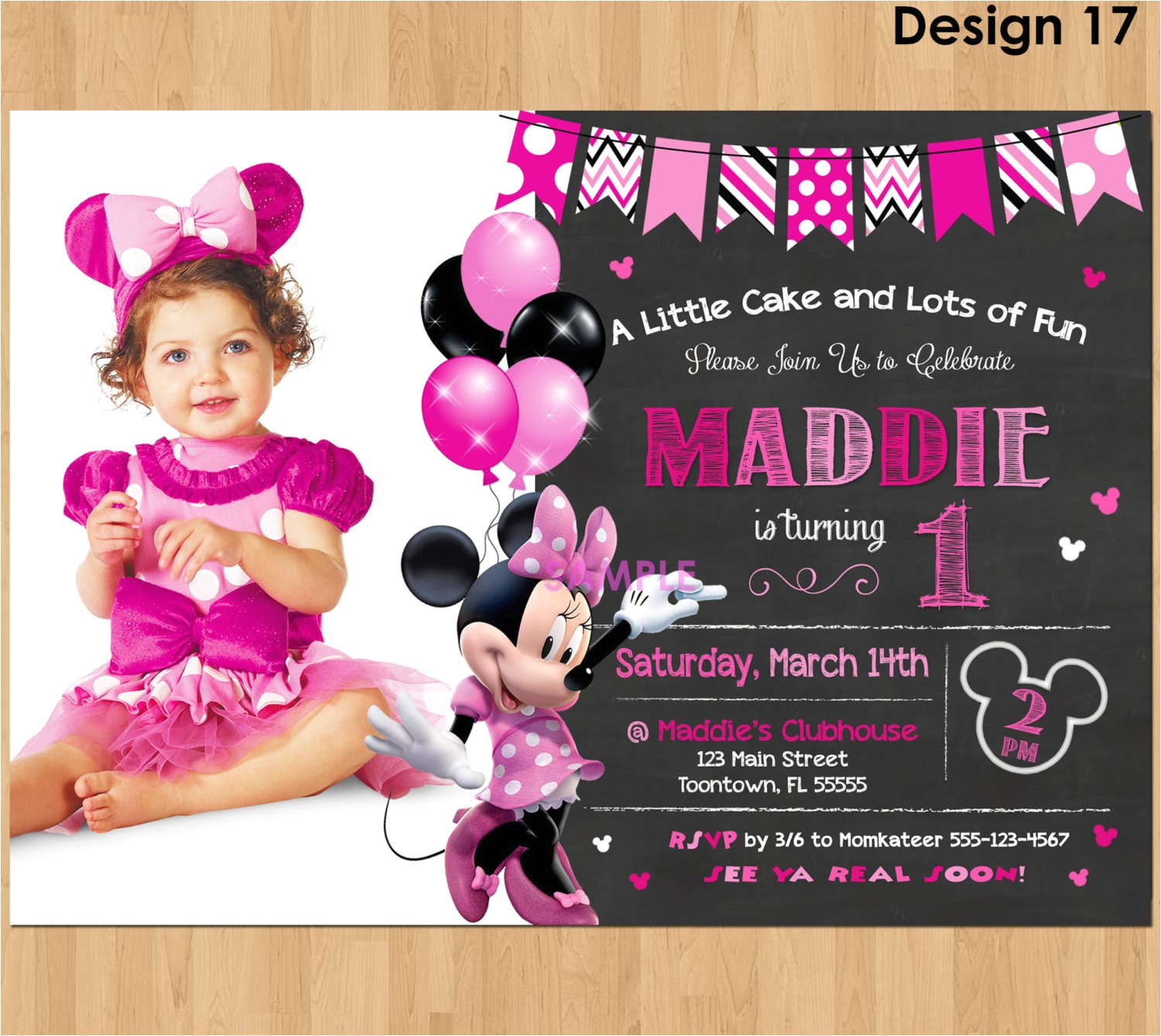 minnie mouse invitation minnie mouse 1st