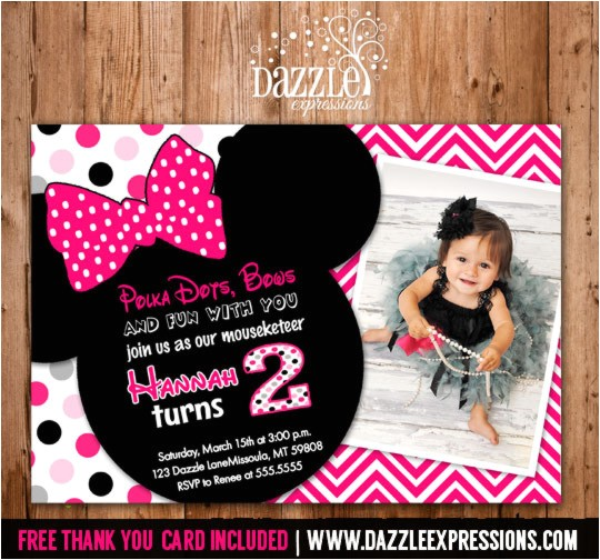 Minnie Mouse Inspired Birthday Invitation 4 FREE thank you card included