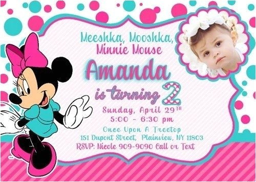 minnie mouse 1st birthday invitations template birthday for 2nd birthday invitation card template