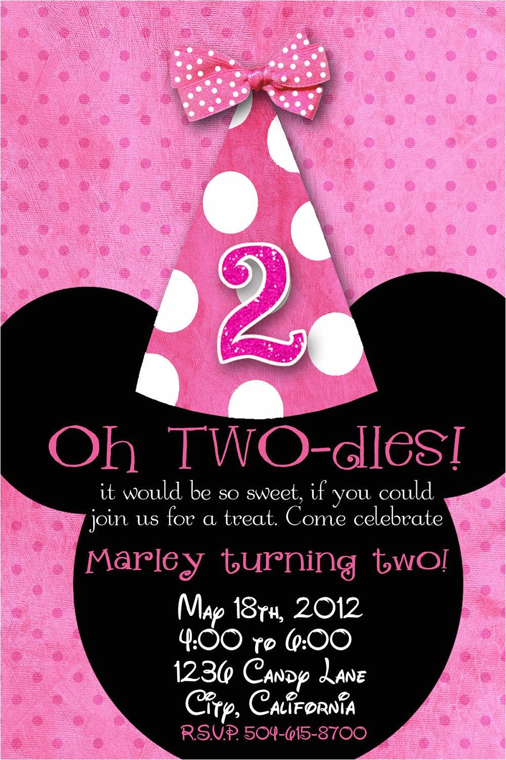 Minnie Mouse 2nd Birthday Invitations Template Minnie Mouse Custom Birthday Printable Disney Invitations