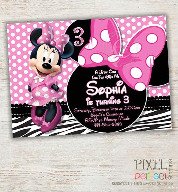 zebra minnie mouse birthday invitation