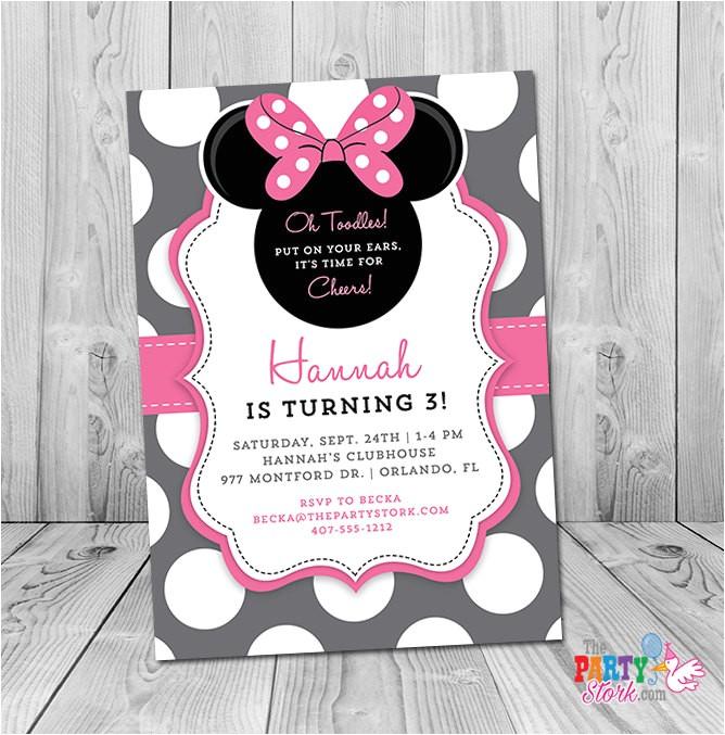 Minnie Mouse 3rd Birthday Invitations Minnie Mouse 3rd Birthday Invitation Minnie Mouse Birthday