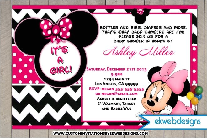 minnie mouse baby shower invitations with lovely pink theme