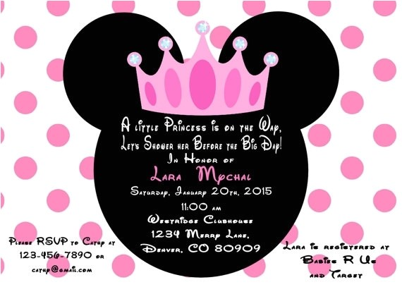 minnie mouse baby invitations