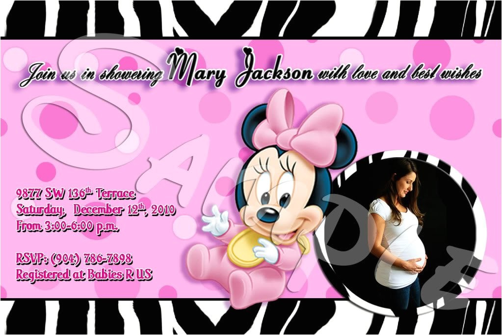 minnie mouse baby shower invitations