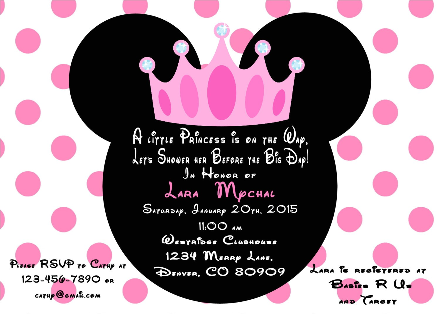minnie mouse princess baby shower