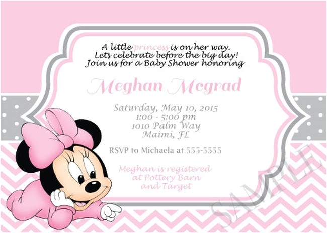 pink minnie mouse girl shower invitation