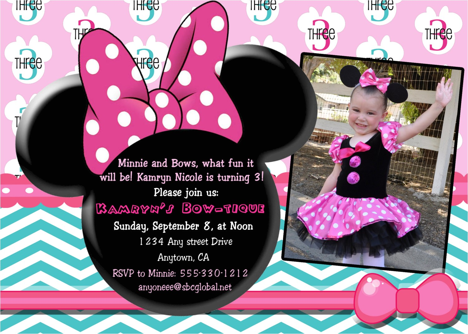 custom minnie mouse bowtique invitation