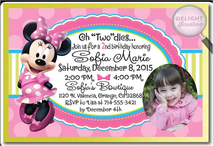 minnie mouse bowtique birthday invitation p 2577