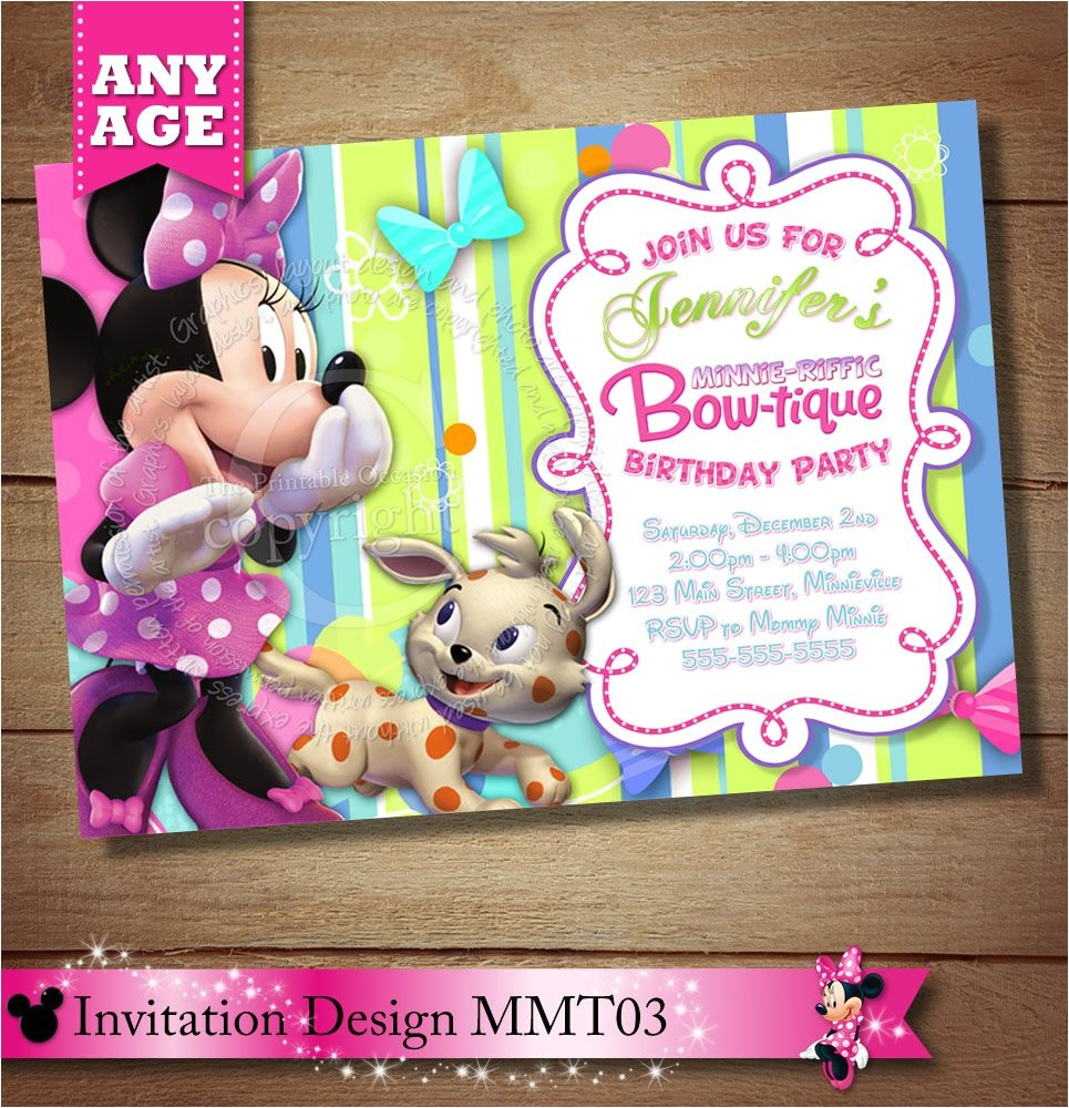 minnie mouse bowtique birthday invitations