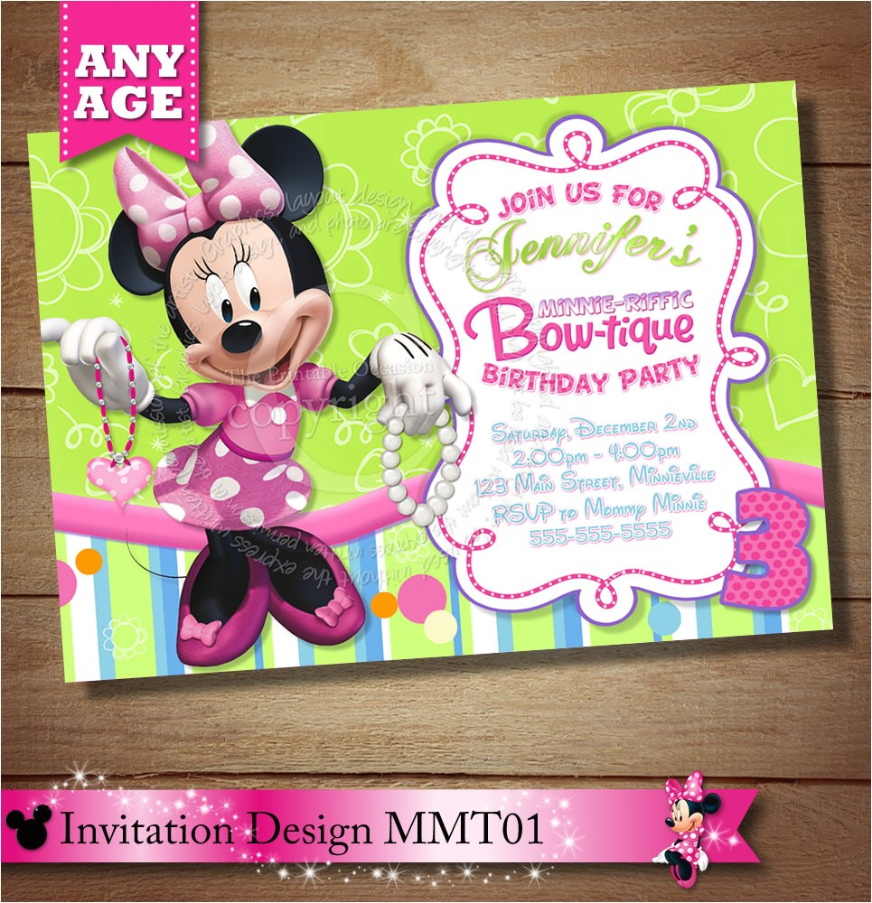minnie mouse bowtique invitation minnie