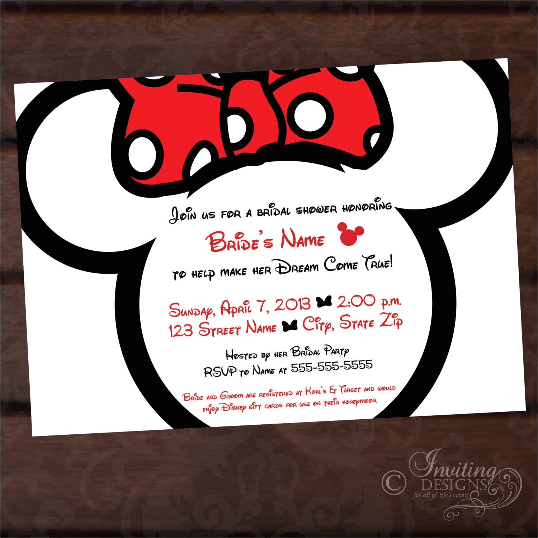 minnie bridal shower custom invitation