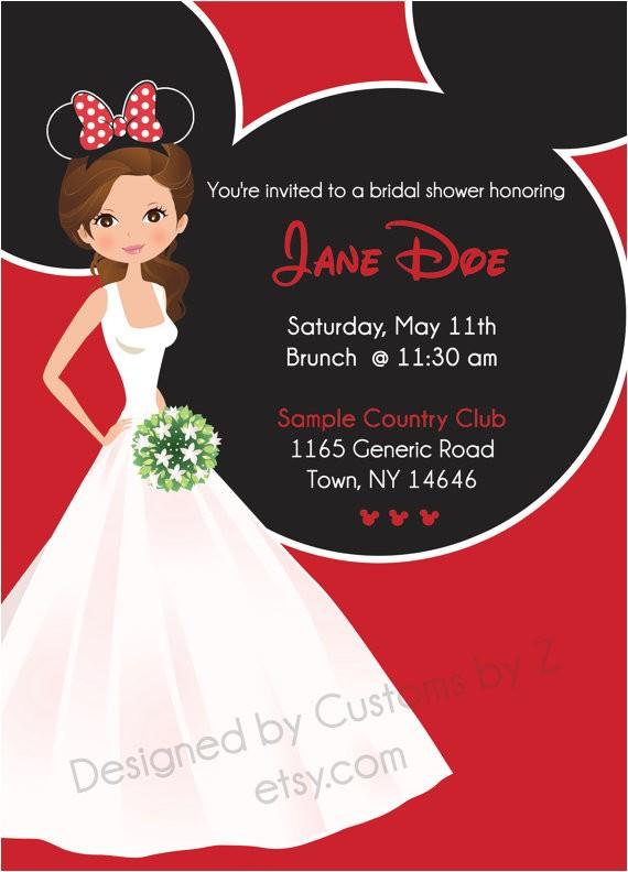 Minnie Mouse Bridal Shower Invitations Minnie Mouse theme Bridal Shower Invitation Front by