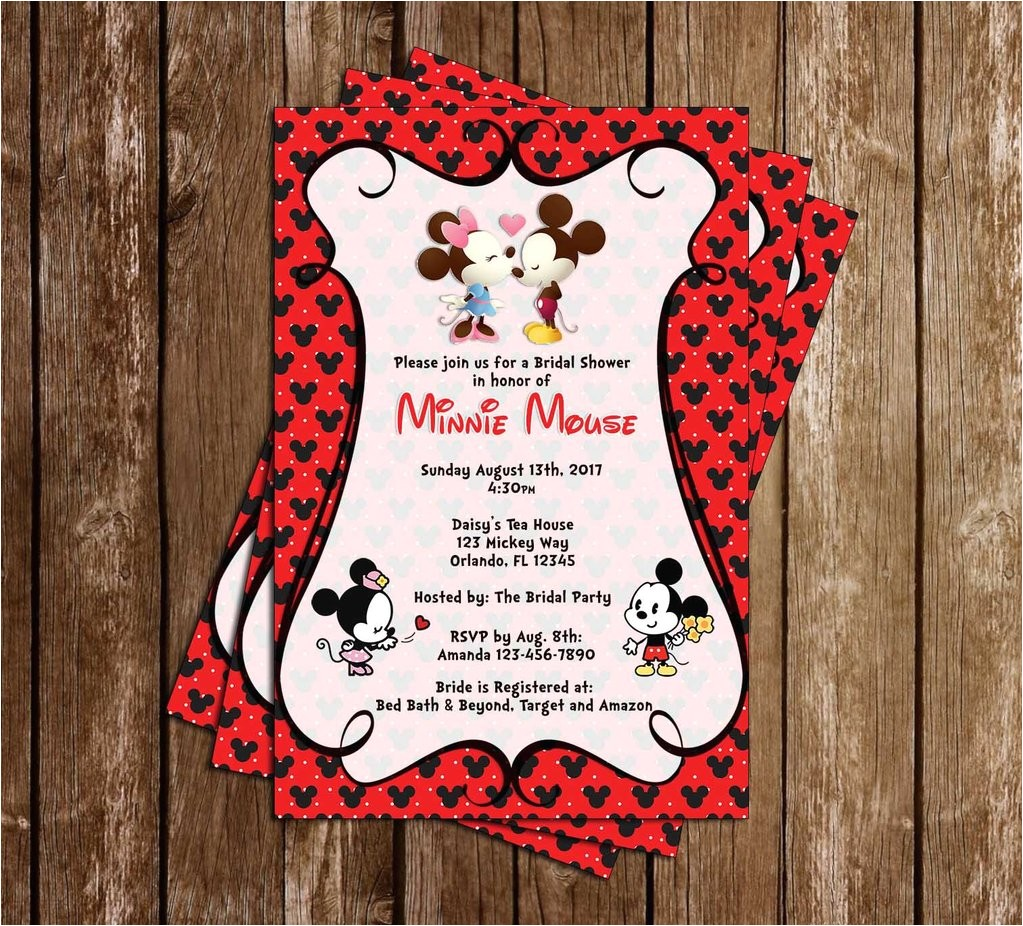 mickey minnie mouse bridal shower invitation