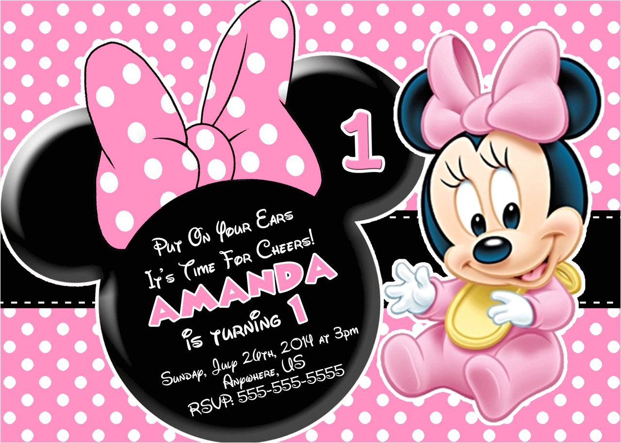minnie mouse first birthday invitations