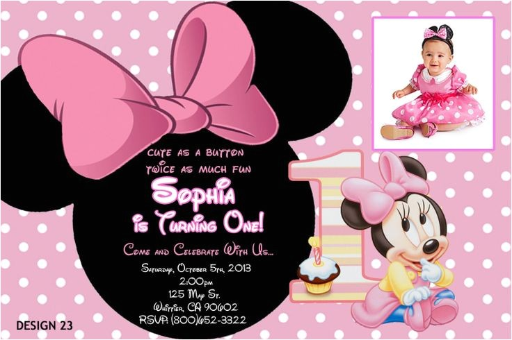 baby minnie 1st birthday invitations