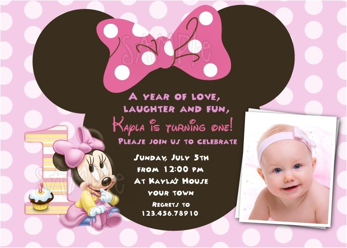Minnie Mouse First Birthday Invitations Wording Free Download Minnie Mouse 1st Birthday Invitations