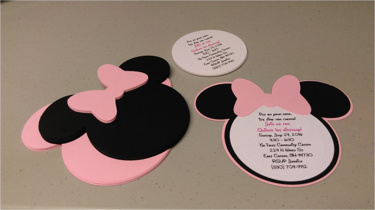 diy minnie mouse invitations in light