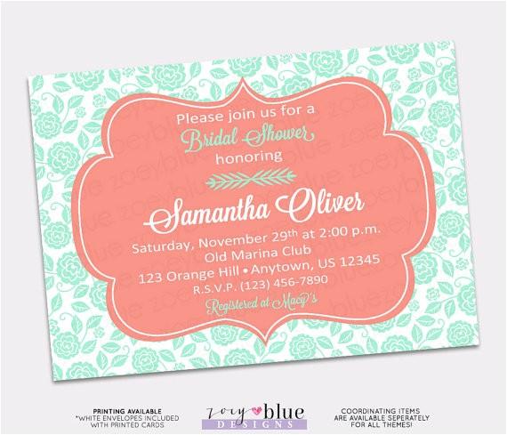 coral mint floral bridal shower invitation