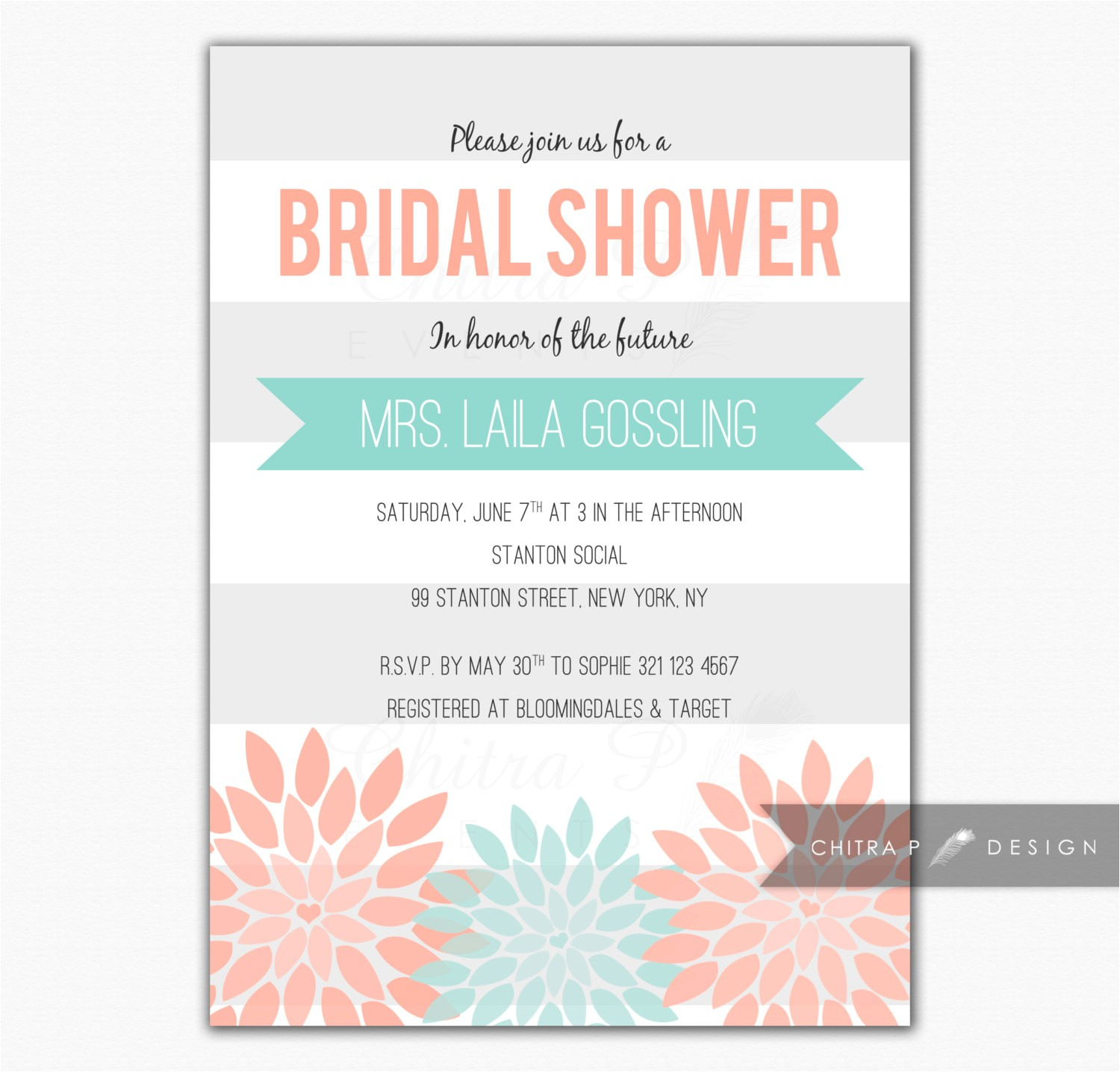 Mint and Coral Bridal Shower Invitations Coral Mint Bridal Shower Invitation Printed Baby by Chitrap