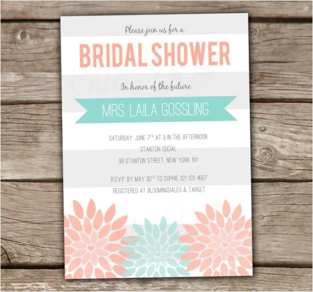 mint coral bridal shower invitation printed or printable baby engagement party wedding couples blush grey modern banner 003