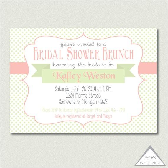 mint coral bridal shower brunch invitation