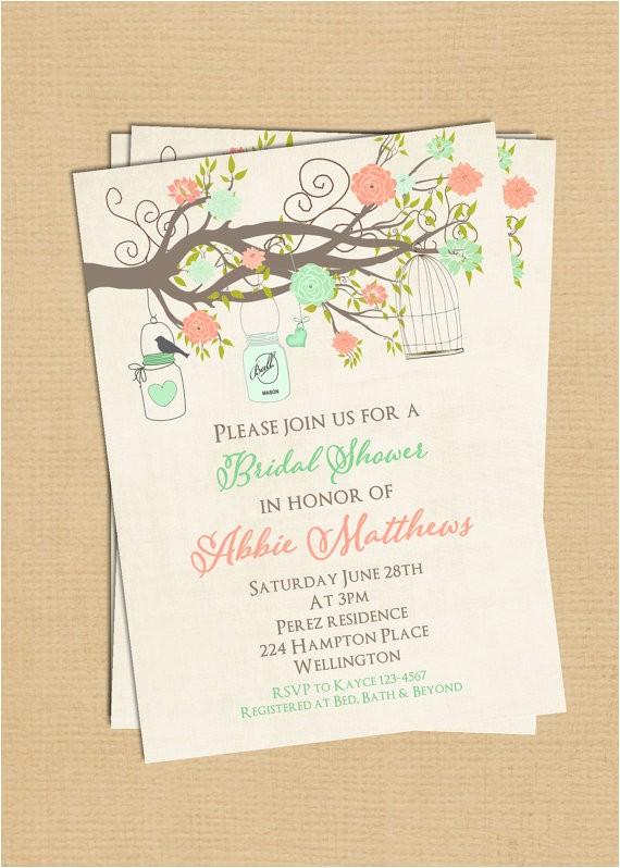 mint coral bridal shower invitation birdcage