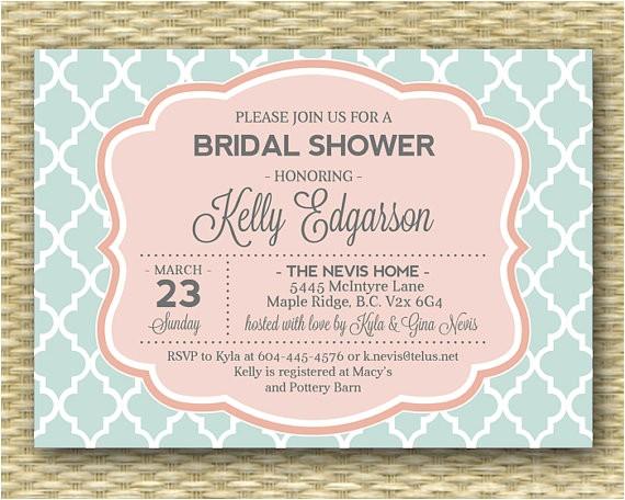 mint soft coral bridal shower invitation