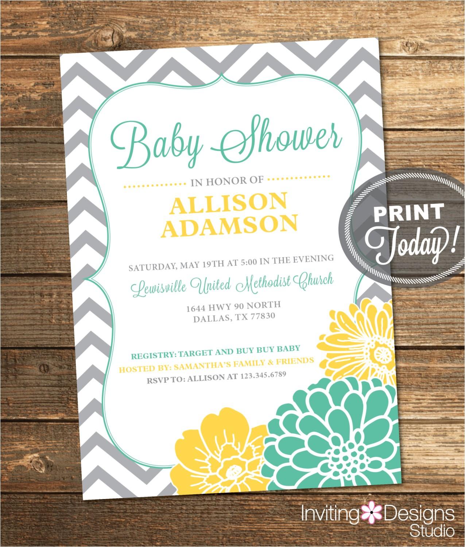 neutral baby shower invitation mint
