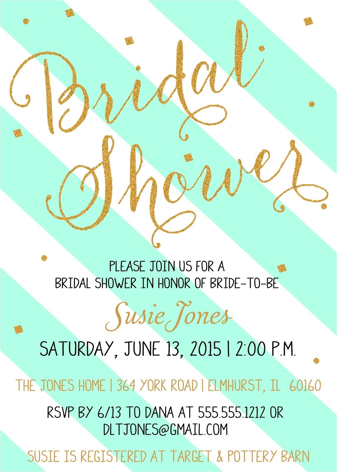 mint gold bridal shower invitation confetti glitter stripes