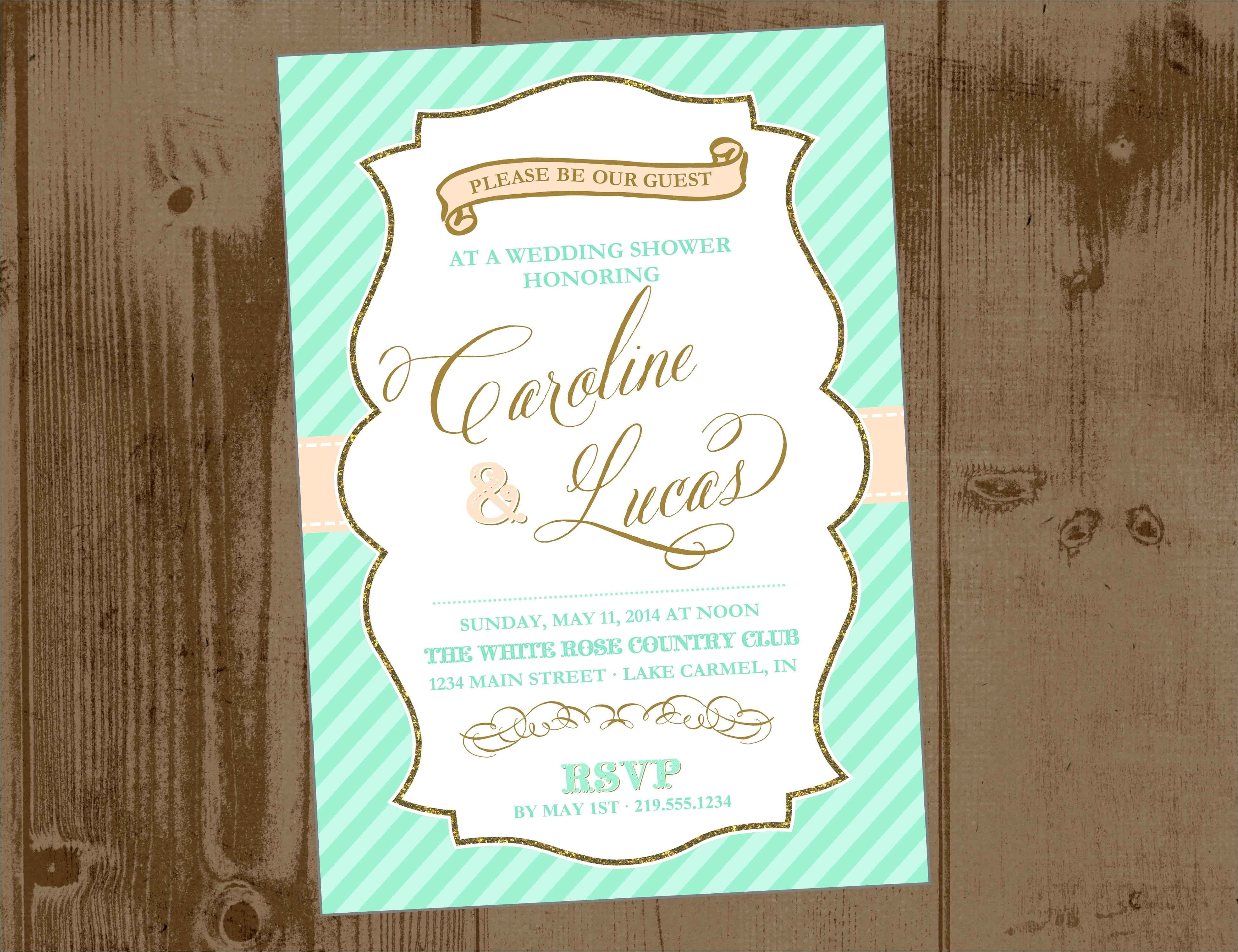 mint peach and gold bridal shower printable invite
