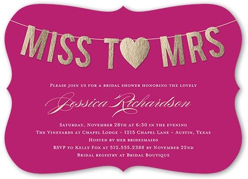 miss to mrs bridal shower invitation 5x7 flat