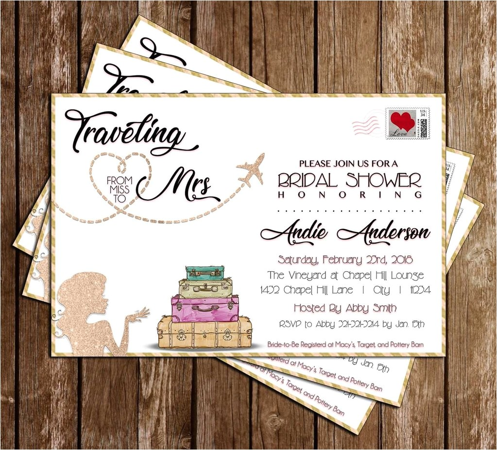 miss to mrs traveling bridal shower invitation
