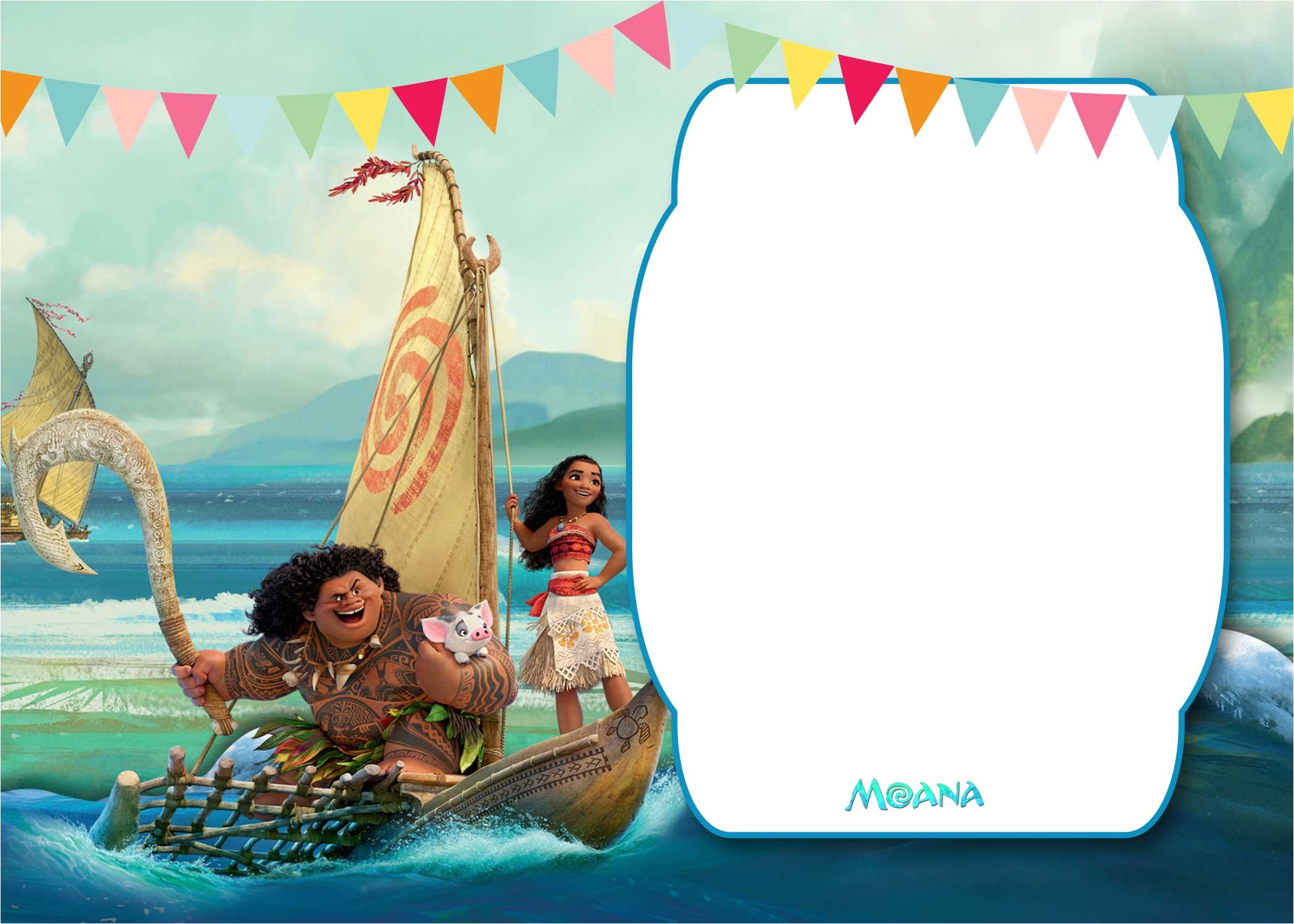 free printable moana 1st invitation template