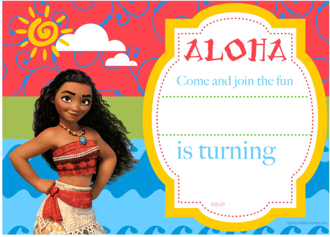 free printable moana birthday invitation and party ideas