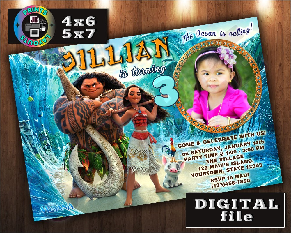 moana birthday invitation custom digital